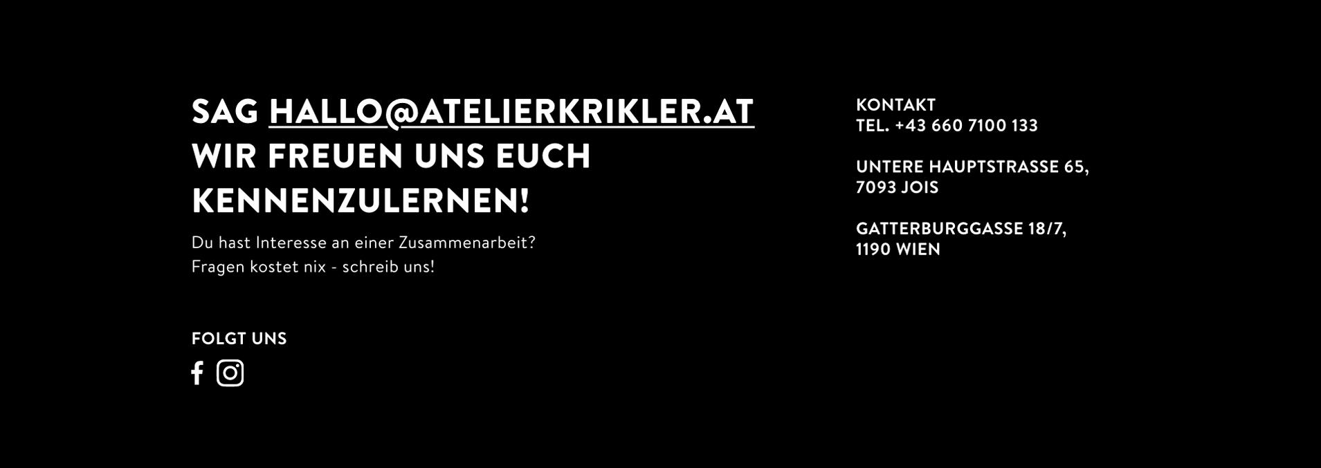 Abbildung von Kontaktinformationen des Atelier Krikler - Branding & Design aus Wien & Jois am Neusiedlersee
