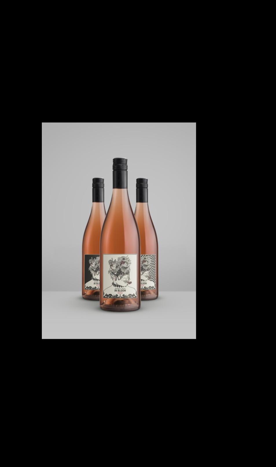 Abbildung einer Mockupgrafik zur Weinlinie In Bloom Rose von Winzer Hanns Reh
