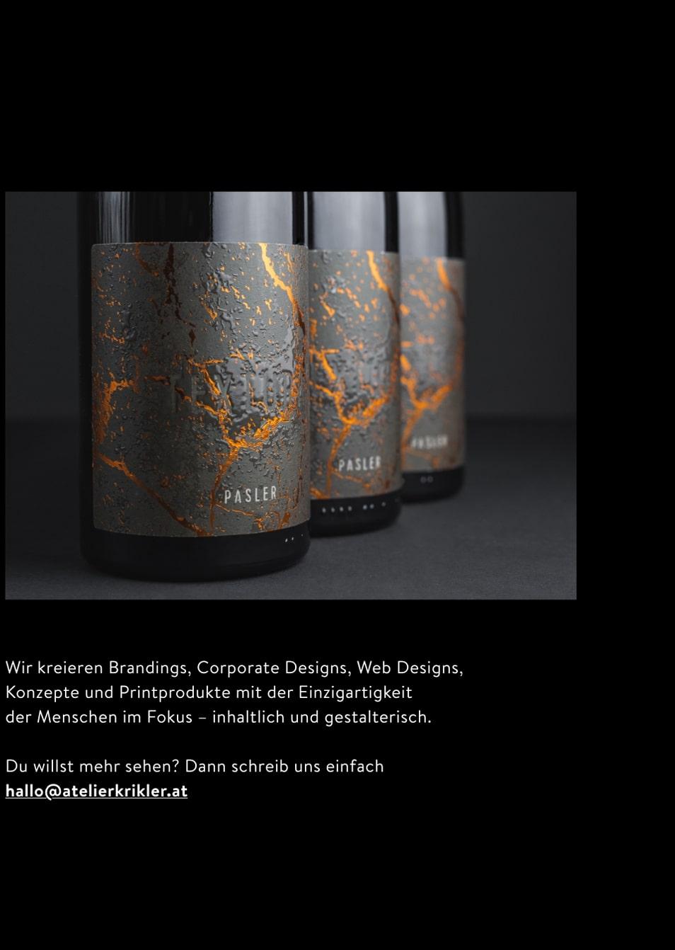 Abbildung einer Mockupgrafik zur Weinflaschenetikette des Weingut Pasler
