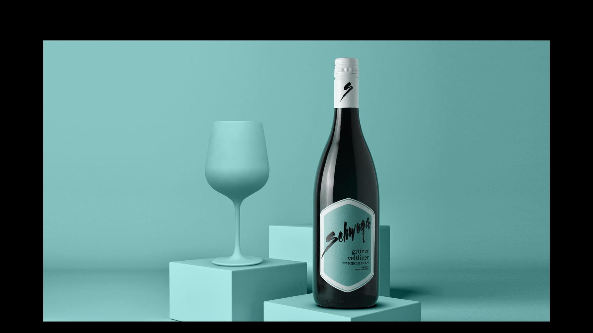 Abbildung einer Mockupgrafik zur Weinlinie Grüner Vetliner von Weingut Schwoga